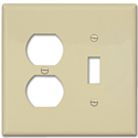 MIDI DUPLEX RECEPTACLE/SWITCH PLATE - IVORY