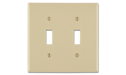 JUMBO 2-GANG METAL SWITCH WALL PLATE - IVORY - 10/PK