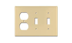 STANDARD DUPLEX RECEPTACLE/2-GANG SWITCH PLATE - IVORY