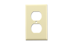 METAL RECEPTACLE WALL PLATE WRINKLE FINISH - IVORY
