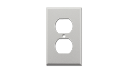 METAL RECEPTACLE WALL PLATE WRINKLE FINISH - WHITE