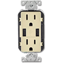 15AMP TAMPER RESISTANT USB CHARGER & DUPLEX RECEPTACLE - IVORY