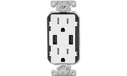 15AMP TAMPER RESISTANT USB CHARGER & DUPLEX RECEPTACLE - WHITE