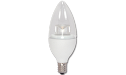 4.5W CLEAR TORPEDO LED BULB - 3000K - CANDELABRA BASE