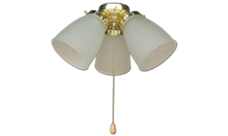 3-LIGHT PRISMATIC KIT POLISHED BRASS WITH FROSTED GLASS