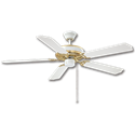 "52"" DUAL MOUNT CEILING FAN, 5 BLADES - WHITE/POLISHED BRASS"