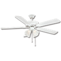 "52"" DUAL MOUNT CEILING FAN WITH LED LIGHT, 5 PRE-ASSEMBLED BLADES - WHITE"