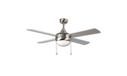 "52"" DUAL MOUNT STAINLESS STEEL CEILING FAN W/LED LIGHT KIT"