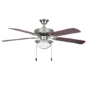 "52"" 5-BLADE SATIN NICKEL CEILING FAN W/ALABASTER LIGHT KIT"