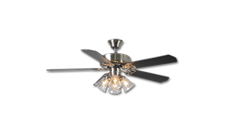 "52"" DUAL MOUNT CEILING FAN WITH LIGHT, 5 PRE-ASSEMBLED BLACK BLADES - SATIN NICKEL"