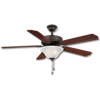 "52"" DUAL MOUNT CEILING FAN WITH LED LIGHT, 5 PRE-ASSEMBLED BLADES - OIL RUBBED BRONZE"