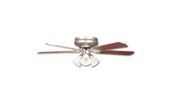 "42"" HUGGER CEILING FAN W/LIGHT KIT - SATIN NICKEL"