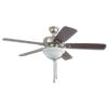 "52"" TWIST & CLICK EASY INSTALL CEILING FAN - BRUSHED NICKEL WITH LED LIGHT KIT"