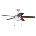 "52"" 5-BLADE DUAL MOUNT BRUSHED NICKEL CEILING FAN W/LED LED LIGHT KIT"