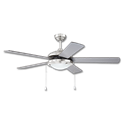 "52"" 5-BLADE BRUSHED NICKEL CEILING FAN W/LIGHT KIT"