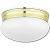 "8"" MUSHROOM FIXTURE - WHITE WITH POLISHED BRASS BASE"