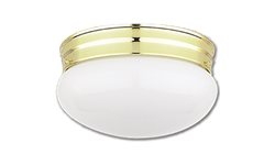 "10"" MUSHROOM FIXTURE - WHITE WITH POLISHED BRASS BASE"