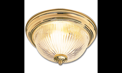 "11"" CEILING LIGHT FIXTURE WITH CLEAR RIBBED GLASS - POLISHED BRASS"