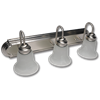 "24"" 3-LIGHT VANITY BATH STRIP WITH ALABASTER GLASS - SATIN NICKEL"