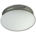 "10"" MUSHROOM FIXTURE - WHITE WITH SATIN NICKEL BASE PAN"