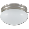 "8"" MUSHROOM FIXTURE - WHITE WITH SATIN NICKEL BASE"