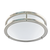"12"" LED 2 RING CEILING FLUSH MOUNT FIXTURE - FLAT FACE - SATIN NICKEL WITH WHITE LENS"