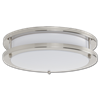 "14"" LED 2 RING CEILING FLUSH MOUNT FIXTURE - SATIN NICKEL WITH WHITE LENS"