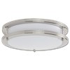 "16"" LED 2 RING CEILING FLUSH MOUNT FIXTURE - FLAT FACE - SATIN NICKEL WITH WHITE LENS"