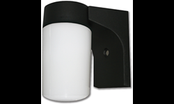 "6"" BLACK WALL MOUNT FIXTURE WITH WHITE CYLINDRICAL GLASS"