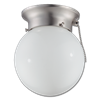 "6"" HALLWAY CEILING FIXTURE WITH PULL CHAIN - SATIN NICKEL"