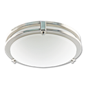 "12"" LED 2 RING CEILING FLUSH MOUNT FIXTURE - SATIN NICKEL WITH WHITE LENS"