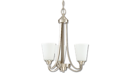 GRACE 3-LIGHT CHANDELIER - BRUSHED POLISHED NICKEL WITH WHITE FROSTED GLASS