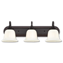 3-LIGHT VANITY FIXTURE - AMBER BRONZE WITH WHITE OPAL GLASS