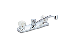 WHITEFALLS ACRYLIC TWO HANDLE KITCHEN FAUCET WITH SPRAY - CHROME