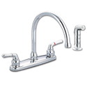 WHITEFALLS TWO HANDLE HIGH-SPOUT KITCHEN FAUCET WITH SPRAY - CHROME