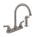 WHITEFALLS TWO HANDLE ARC-SPOUT KITCHEN FAUCET WITH SPRAY - WASHERLESS - BRUSHED NICKEL