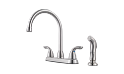 PFISTER TWO METAL HANDLE HIGH ARC KITCHEN FAUCET WITH SPRAY - STAINLESS STEEL
