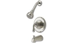 WHITEFALLS DECORATIVE HANDLE TUB/SHOWER FAUCET WITH PRESSURE BALANCE VALVE - BRUSHED NICKEL