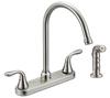 WHITEFALLS TWO HANDLE KITCHEN FAUCET WITH SPRAY - BRUSHED NICKEL