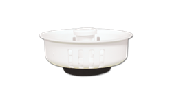 "WHITE PLASTIC BASKET STRAINER - 3-1/2"" DIAMETER RUBBER BOTTOM"