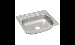"25""X22"" X 6"" SINGLE BOWL STAINLESS STEEL SINK 3 HOLE WITH PULL CLIPS 22GA."