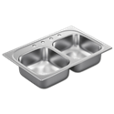 "33""X22"" X 7"" DOUBLE BOWL STAINLESS STEEL SINK - 4 HOLE 20GA."