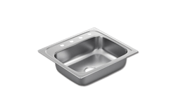 "25""X22"" x 7"" SINGLE BOWL STAINLESS STEEL SINK - 4 HOLE 22GA."