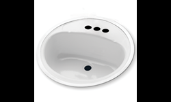 "18"" ROUND LAVATORY SINK PORCELAIN ON STEEL - WHITE"