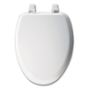 WHITE ELONGATED WOOD TOILET SEAT WITH CLOSED FRONT