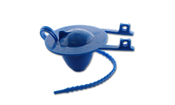 BLUE TOILET TANK FLAPPER WITH RUBBER STRAP