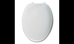 WHITE ELONGATED PLASTIC TOILET SEAT WITH CLOSED FRONT