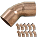 "1/2"" ID WROT 45° COPPER ELBOW - 10/PK"