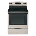 "GE® 30"" CERAMIC GLASS TOP ELECTRIC RANGE - SILVER"
