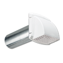 "4"" WHITE PLASTIC DRYER VENT HOOD WITH ALUMINUM TAILPIPE & REMOVABLE SCREEN"